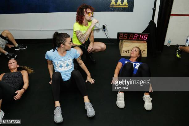 Jenna Compono Chris 'Ammo' Hall and Kailah Casillas train during The Challenge XXX Ultimate Fan Experience at Exceed Physical Culture on July 17 2017...
