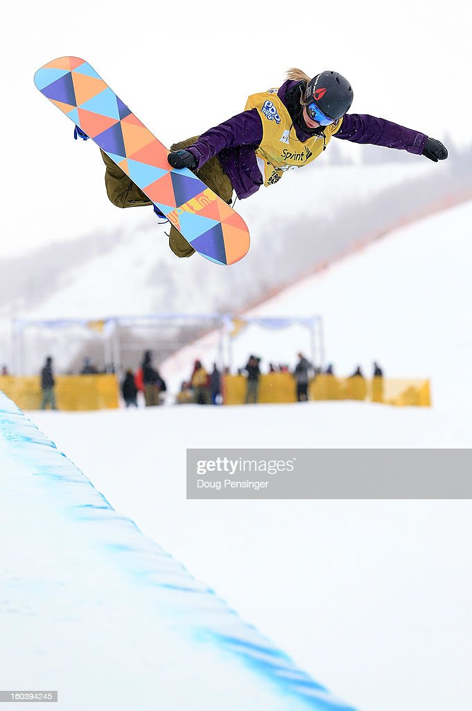 Jenna Dramise competes during qualifications for the FIS Snowboard Halfpipe World Cup at the Sprint U.S. Grand Prix at Park City Mountain on January 30, 2013 in Park City, Utah.