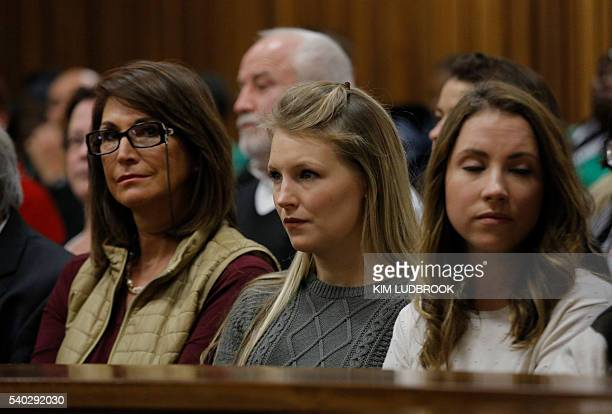 Jenna Edkins exgirlfriend of South African Paralympian Oscar Pistorius looks on from the galleryat the high court in Pretoria on June 14 2016 on the...