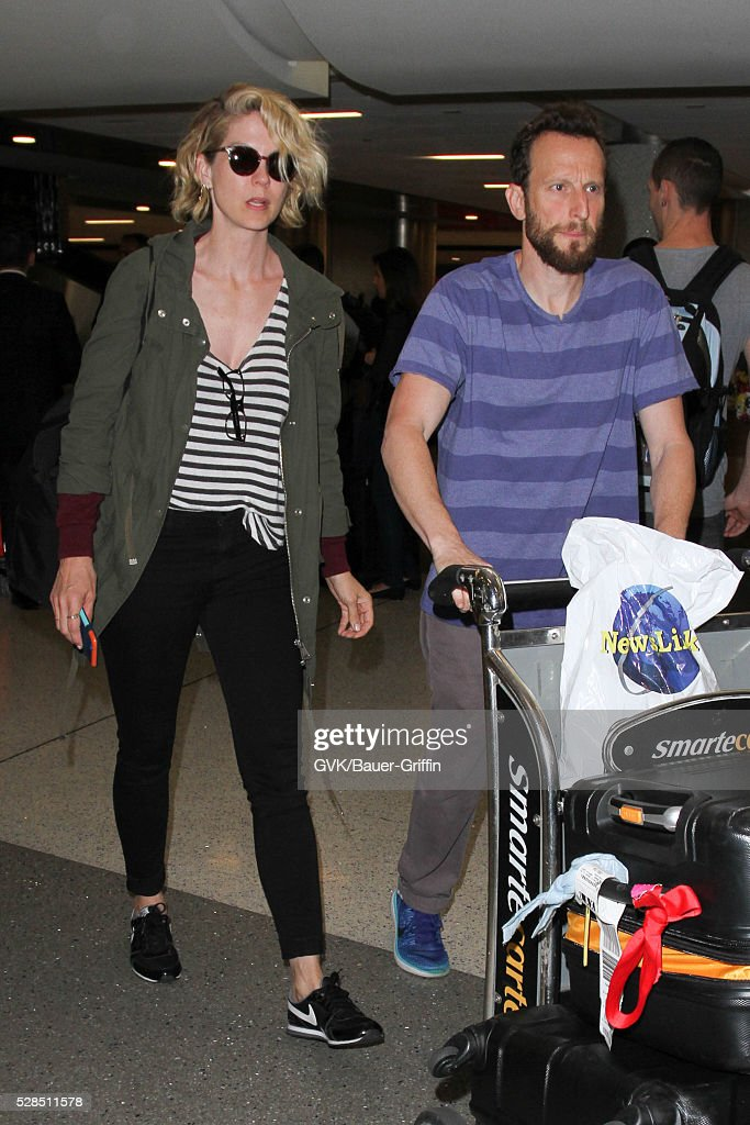 Jenna Elfman and Bodhi Elfman are seen at LAX on May 05, 2016 in Los Angeles, California.