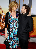 Jenna Elfman and husband Bodhi Elfman during 'Wild Hogs' Los Angeles Premiere Arrivals at El Capitan Theater in Hollywood California United States