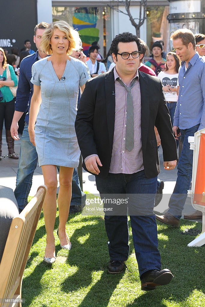 Jenna Elfman (L) and Josh Gad are sighted at The Grove on February 14, 2013 in Los Angeles, California.