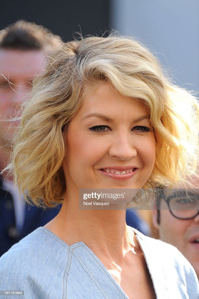 <a gi-track='captionPersonalityLinkClicked' href=/galleries/search?phrase=Jenna+Elfman&family=editorial&specificpeople=204782 ng-click='$event.stopPropagation()'>Jenna Elfman</a> are sighted at The Grove on February 14, 2013 in Los Angeles, California.