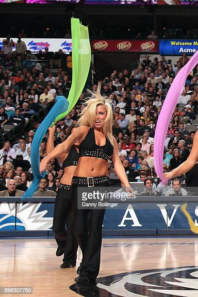 Jenna Gillund performs with the Dallas Mavericks dance team during the game against the Los Angeles Lakers at the American Airlines Center on...