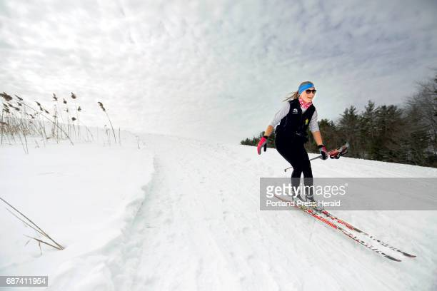 Jenna Hill of South Portland beams during a downhill stretch while crosscountry skiing at Smiling Hill Farm on Saturday