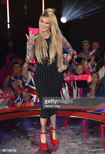 Jenna Jameson leaves the house during a fake eviction at the Big Brother house at Elstree Studios on September 11 2015 in Borehamwood England