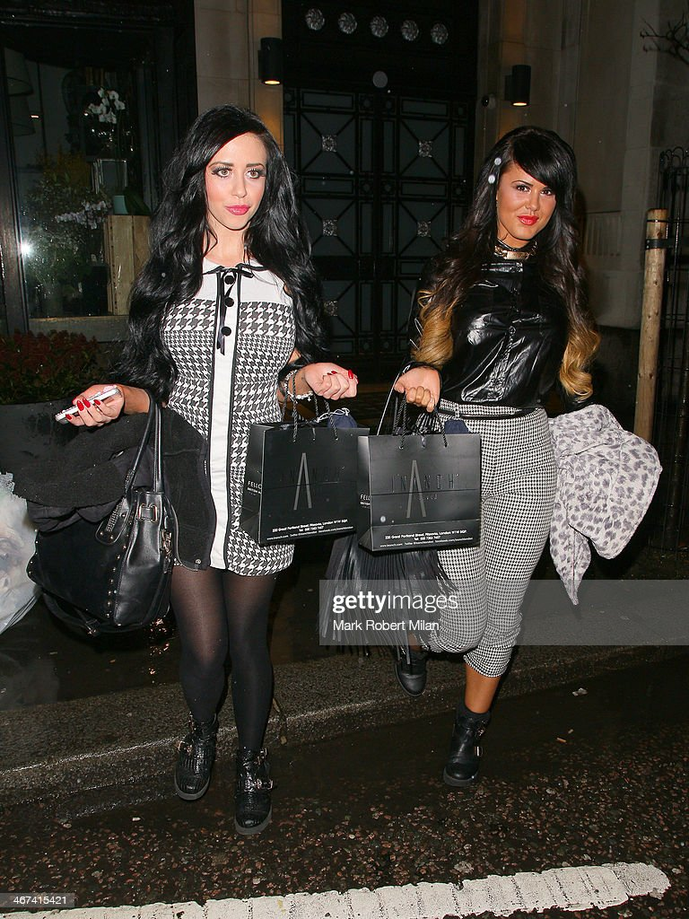 Jenna Jonathan and Nicole Morris leaving Inanch hair salon on February 6, 2014 in London, England.