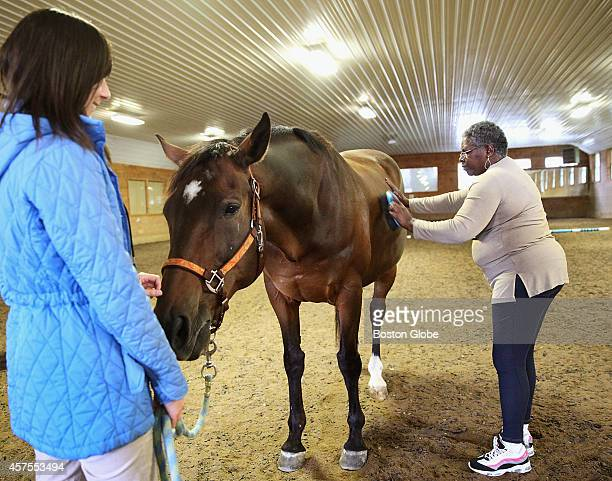 Jenna Kaplan looks on as veteran Charlene Brown of West Roxbury groomed 'Quent' at BINA Farm Center in Norfolk Mass on October 7 2014