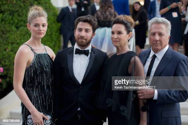 Jenna Kelly Jake Hoffman Lisa Hoffman and Dustin Hoffman attend the amfAR Gala Cannes 2017 at Hotel du CapEdenRoc on May 25 2017 in Cap d'Antibes...