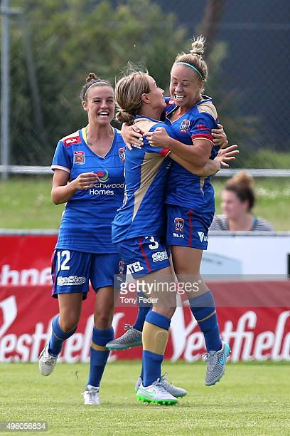 Jenna Kingsley of the Jets celebrates after scoring a goal with Georga YeomanDale and Chloe Logarzo during the round four WLeague match between the...