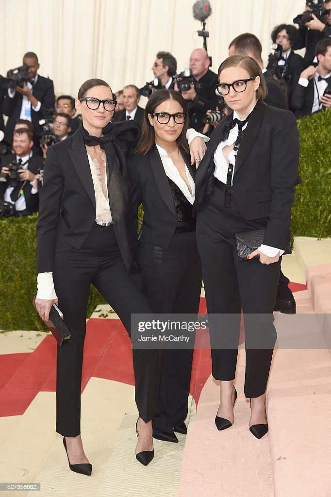Jenna Lyons, Jennifer Konner, and Lena Dunham attend the 'Manus x Machina: Fashion In An Age Of Technology' Costume Institute Gala at Metropolitan Museum of Art on May 2, 2016 in New York City.