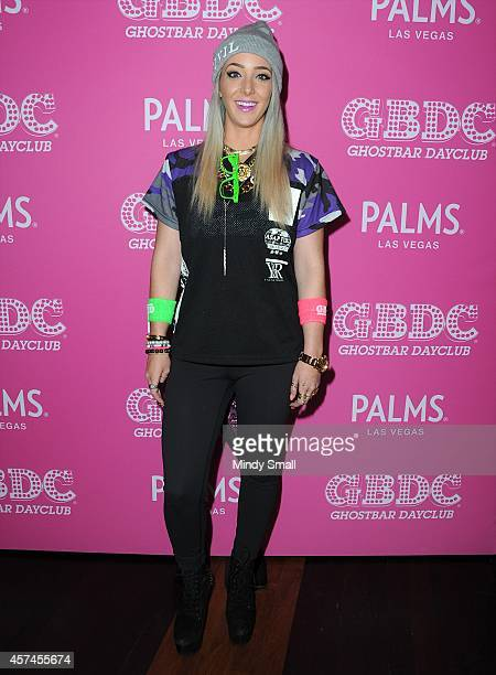 Jenna Marbles arrives at Ghostbar Dayclub at the Palms Casino Resort on October 18 2014 in Las Vegas Nevada