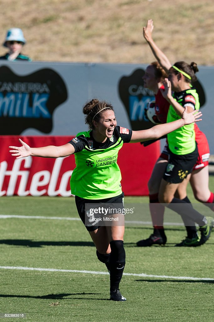 Jenna McCormick celebrates scoring during the round 14 W-League match between Canberra United and Melbourne Victory at McKellar Park on January 28, 2017 in Canberra, Australia. United won the game 5-1.