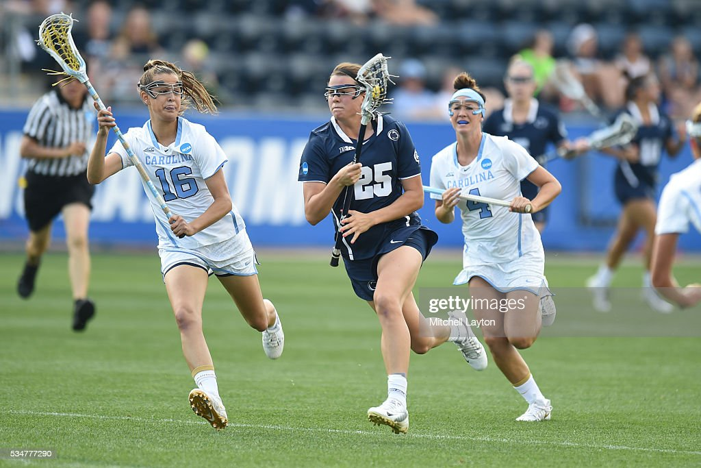 Jenna Mosketti #25 of the Penn State runs down field during the Semifinal NCCA Women's Lacrosse Championship game against the North Carolina Tar Heels at Talen Engery Stadium on May 27, 2016 in Chester, Pennsylvania.