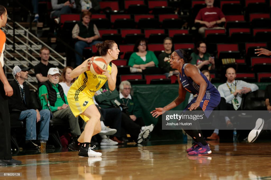 Jenna O'Hea #4 of the Seattle Storm handles the ball during a game against the Phoenix Mercury on May 3, 2017 at Key Arena in Seattle, Washington.