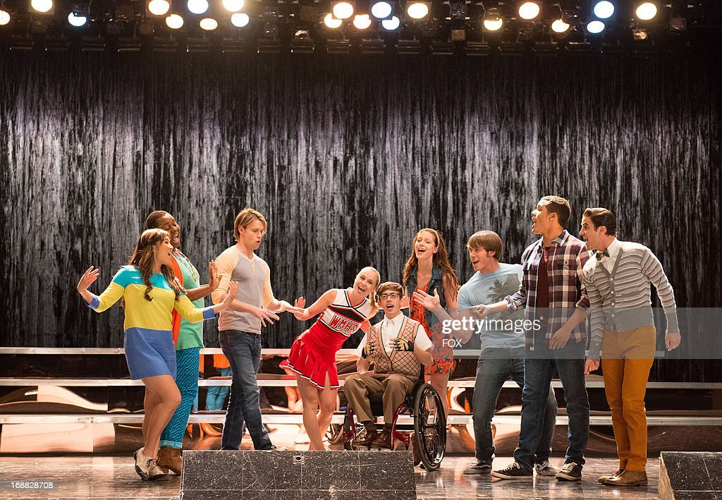 Jenna Ushkowitz, Alex Newell, Chord Overstreet, Becca Tobin, Kevin McHale, Melissa Benoist, Blake Jenner, Jacob Artist and Darren Criss star in the 'Lights Out' episode of GLEE airing Thursday, April 25, 2013 (9:00-10:00 PM ET/PT) on FOX.