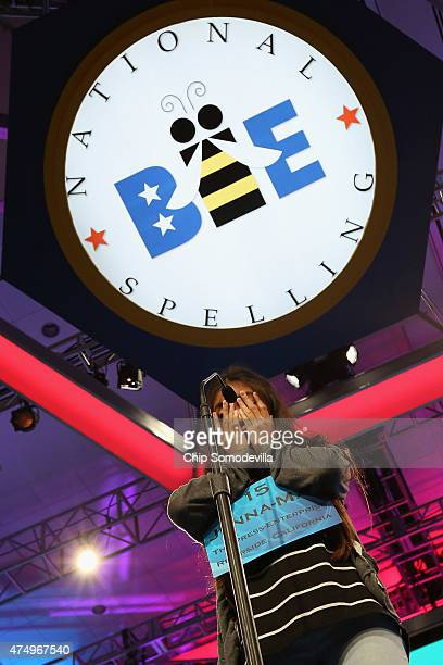 JennaMay Ingal of Riverside California spells a word incorrectly during the 88th Scripps National Spelling Bee semifinals at the Gaylord National...