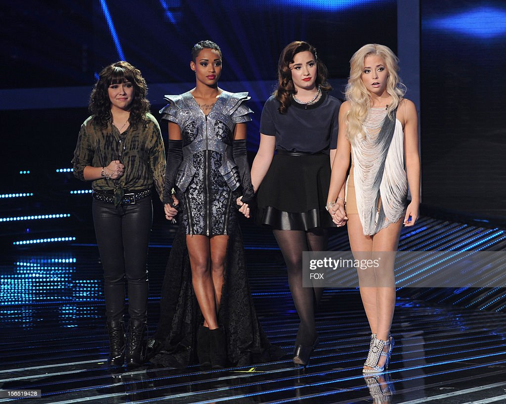 Jennel Garcia Paige Thomas Demi Lovato and CeCe Frey onstage at FOX's 'The X Factor' Season 2 Top 11 to 10 Live Elimination Show on November 15 2012...