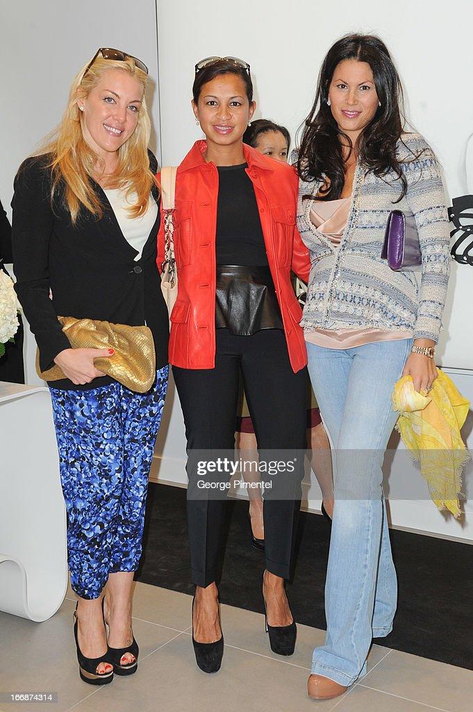 Jennen Phelan, Lori Prendergast and Daniela Degasperis attend opening of Stuart Weitzman Boutique on April 17, 2013 in Toronto Ontario Canada.