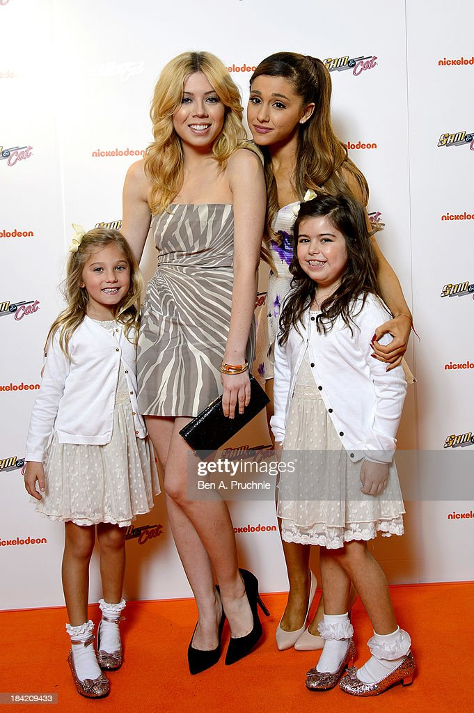 Jennette McCurdy, Sophia Grace and Rosie Brownlee and Ariana Grande attends the UK Premiere of Sam & Cat at Cineworld 02 Arena on October 12, 2013 in London, England.