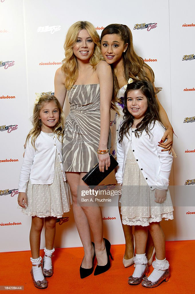 <a gi-track='captionPersonalityLinkClicked' href=/galleries/search?phrase=Jennette+McCurdy&family=editorial&specificpeople=2851877 ng-click='$event.stopPropagation()'>Jennette McCurdy</a>, Sophia Grace and Rosie Brownlee and <a gi-track='captionPersonalityLinkClicked' href=/galleries/search?phrase=Ariana+Grande&family=editorial&specificpeople=5586219 ng-click='$event.stopPropagation()'>Ariana Grande</a> attends the UK Premiere of Sam & Cat at Cineworld 02 Arena on October 12, 2013 in London, England.