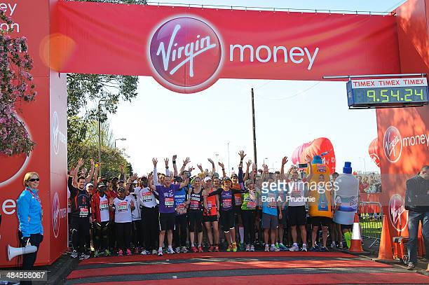 Jenni Falconer Sophie Raworth Amy Willerton Natalie Dormer and Michael Owen on the start line ahead of the Virgin Money London Marathon on April 13...