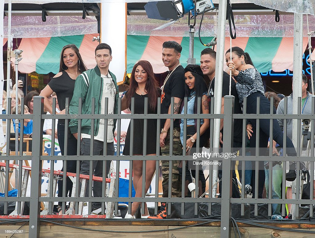Jenni Farley, Ronnie Ortiz-Magro, Sammi Giancola, Mike Sorrentino, Nicole Polizzi, Paul DelVecchio and Vinny Guadagnino on NBC's 'Today' at Seaside Heights on May 24, 2013 in Seaside Heights, New Jersey.