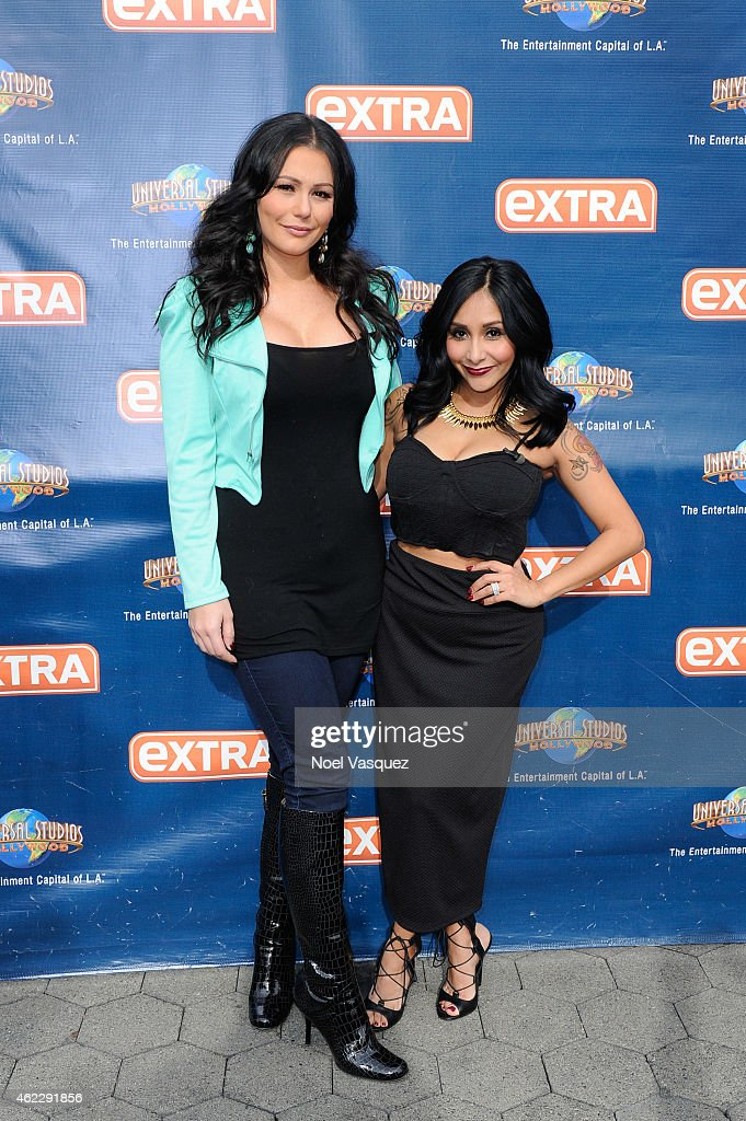 Jenni 'JWoww' Farley (L) and Nicole 'Snooki' LaValle visit 'Extra' at Universal Studios Hollywood on January 26, 2015 in Universal City, California.