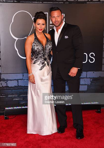 Jenni 'Jwoww' Farley and Roger Mathews attend the 2013 MTV Video Music Awards at the Barclays Center on August 25 2013 in the Brooklyn borough of New...