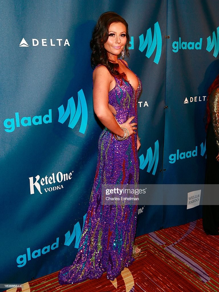 Jenni 'JWoww' Farley attends the 24th annual GLAAD Media awards at The New York Marriott Marquis on March 16, 2013 in New York City.