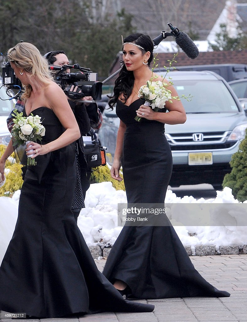 Jenni 'JWoww' Farley attends the wedding of Nicole 'Snooki' Polizzi and Jionni LaValle on November 29 2014 in East Hanover New Jersey