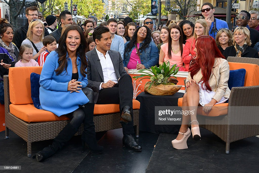 Jenni 'Jwoww' Farley, <a gi-track='captionPersonalityLinkClicked' href=/galleries/search?phrase=Mario+Lopez&family=editorial&specificpeople=235992 ng-click='$event.stopPropagation()'>Mario Lopez</a> and Nicole 'Snooki' Polizzi visit Extra at The Grove on January 7, 2013 in Los Angeles, California.