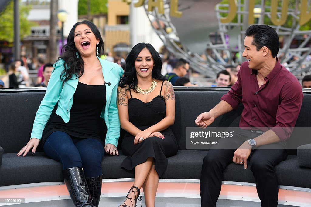 Jenni 'JWoww' Farley, Nicole 'Snooki' LaValle and Mario Lopez visit 'Extra' at Universal Studios Hollywood on January 26, 2015 in Universal City, California.