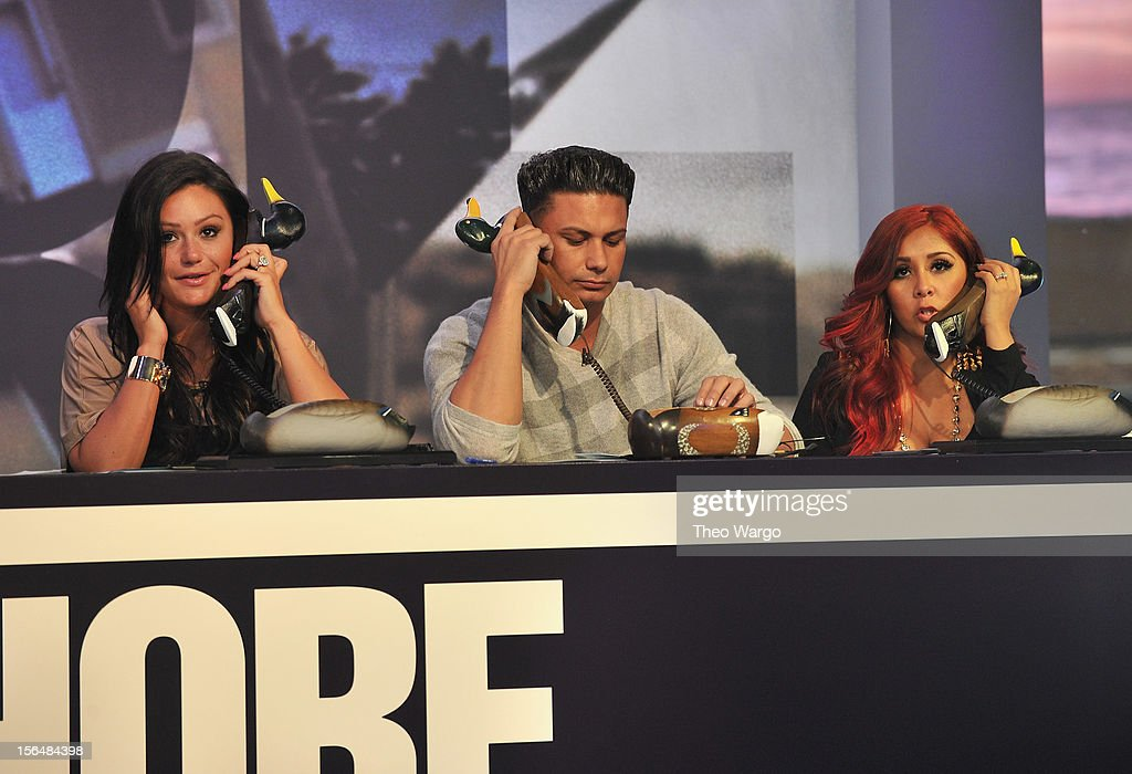 "Jenni 'JWoww' Farley Pauly D and Nicole ""Snooki"" Polizzi attend MTV 'Restore The Shore' Jersey Shore Benefit at on November 15 2012 in New York City"