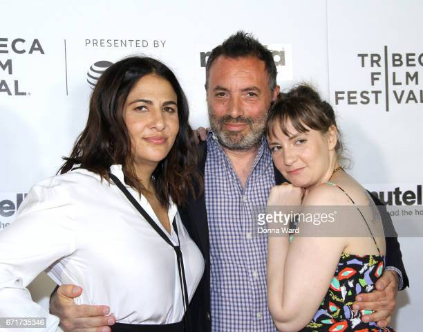 Jenni Konner Richard Shepard and Lena Dunham attend Tribeca Shorts 'Tokyo Project' premiere at Regal Battery Park Cinemas on April 22 2017 in New...