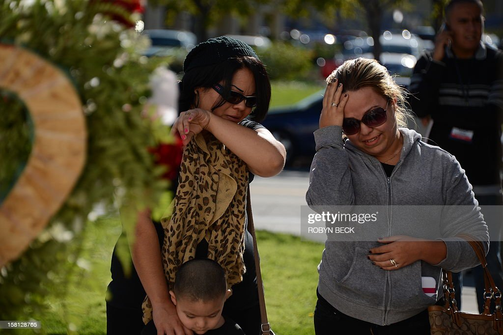 Jenni Rivera fans Michelle Alonzo (L) and her neice Gaby Juarez grieve at a memorial of flowers, candles, ballons and notes to the late Mexican-American singing superstar Jenni Rivera, December 10, 2012 in Burbank, California. Rescue workers searched Monday the wreckage of a plane that carried Rivera, a star on both sides of the border, whose death shocked Latin music fans and celebrities.