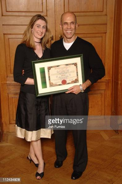 Jenni Steele and Jeffrey Katzenberg who was presented with an official Scottish Clan Tartan certificate for the character Shrek