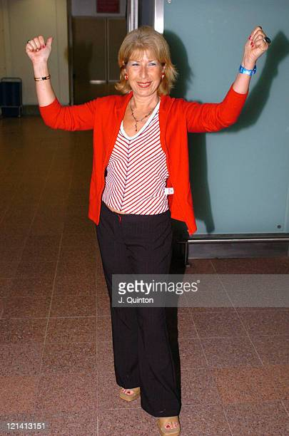 Jennie Bond during 'I'm A Celebrity Get Me Out of Here' Return at Heathrow Airport in London Great Britain