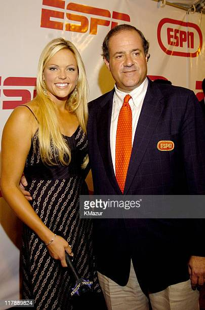 Jennie Finch and Chris Berman during ESPN's 25th Anniversary Celebration Red Carpet at ESPN Zone Times Square in New York City New York United States