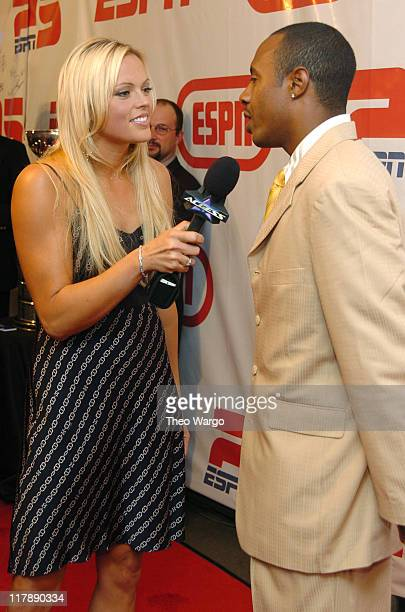 Jennie Finch and Jayson Williams during ESPN's 25th Anniversary Celebration Arrivals at ESPN Zone Times Square in New York City New York United States