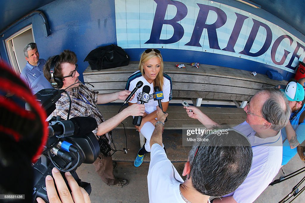 <a gi-track='captionPersonalityLinkClicked' href=/galleries/search?phrase=Jennie+Finch&family=editorial&specificpeople=212970 ng-click='$event.stopPropagation()'>Jennie Finch</a> speaks to the media prior to managing the Bridgeport Bluefish against Southern Maryland Blue Crabs at The Ballpark at Harbor Yards on May 29, 2016 in Bridgeport, Connecticut. <a gi-track='captionPersonalityLinkClicked' href=/galleries/search?phrase=Jennie+Finch&family=editorial&specificpeople=212970 ng-click='$event.stopPropagation()'>Jennie Finch</a> is the first woman to manages a men's independent league baseball game.