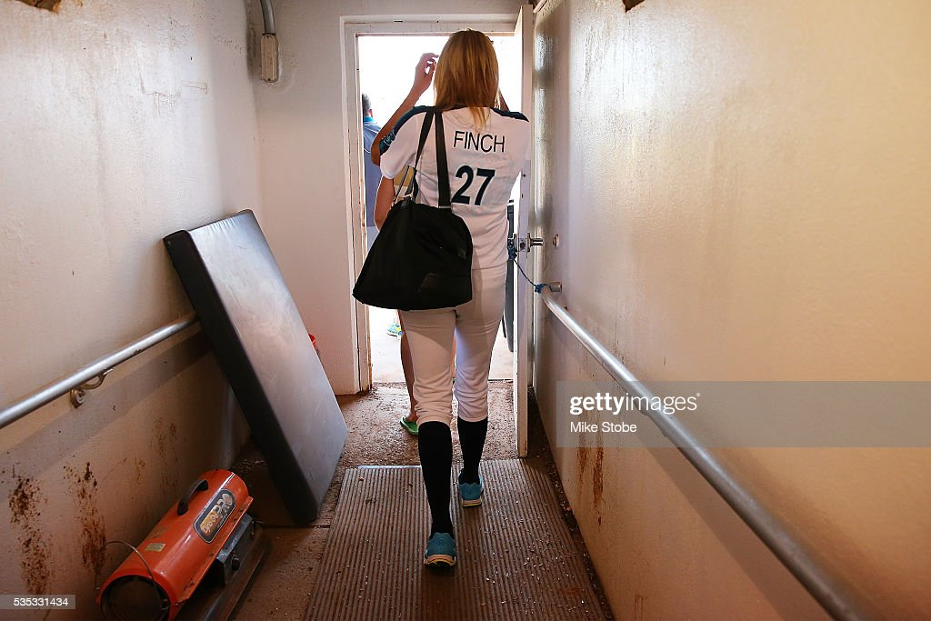 <a gi-track='captionPersonalityLinkClicked' href=/galleries/search?phrase=Jennie+Finch&family=editorial&specificpeople=212970 ng-click='$event.stopPropagation()'>Jennie Finch</a> walks out onto the field prior to managing the Bridgeport Bluefish against Southern Maryland Blue Crabs at The Ballpark at Harbor Yards on May 29, 2016 in Bridgeport, Connecticut. <a gi-track='captionPersonalityLinkClicked' href=/galleries/search?phrase=Jennie+Finch&family=editorial&specificpeople=212970 ng-click='$event.stopPropagation()'>Jennie Finch</a> is the first woman to manages a men's independent league baseball game.