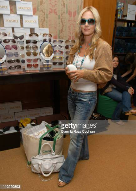Jennie Garth wearing Marc Jacobs 023S Sunglasses during Solstice Sunglass Boutique at the Lucky/Cargo Club Day 2 at Ritz Carlton in New York City New...