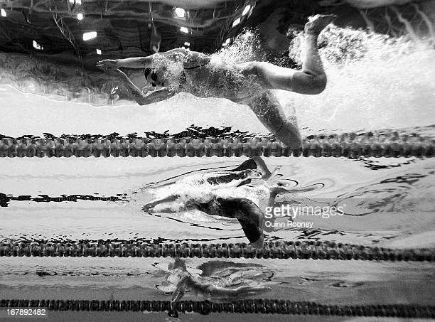 Jennie Johansson of Sweden Lorna Tonks and Libby Forbes of Australia compete in the Women's 50 Metre Breaststroke during day seven of the Australian...