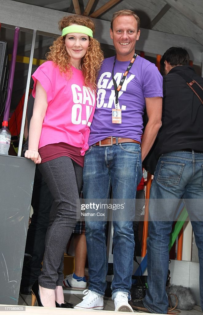 Jennie Mcalpine and <a gi-track='captionPersonalityLinkClicked' href=/galleries/search?phrase=Antony+Cotton&family=editorial&specificpeople=626694 ng-click='$event.stopPropagation()'>Antony Cotton</a> attend Manchester Pride on August 24, 2013 in Manchester, England.