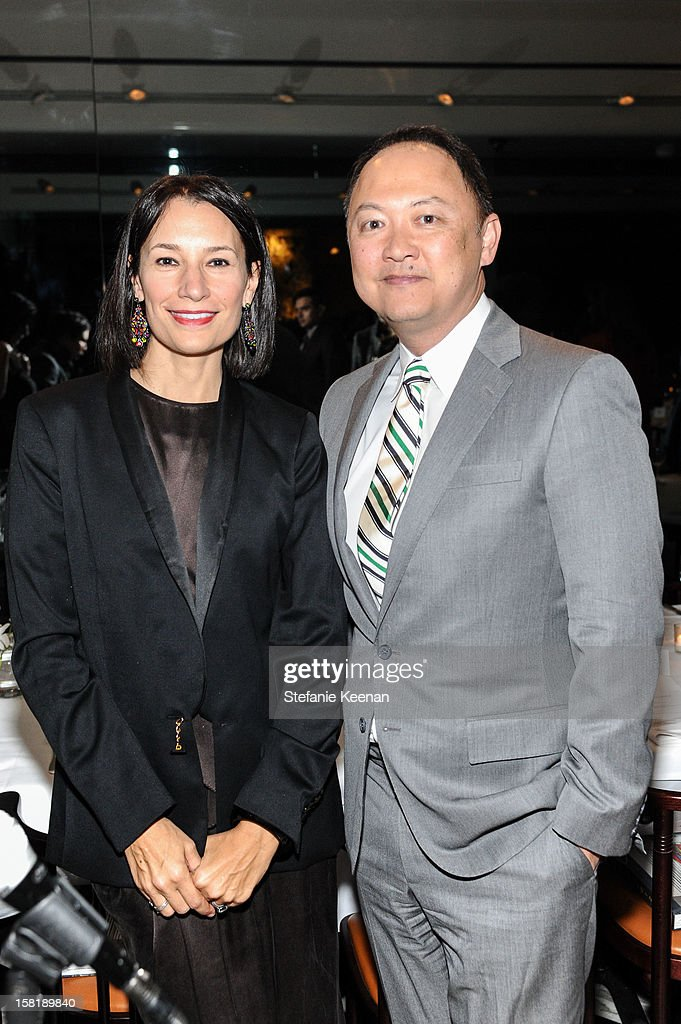 Jennie Prebor and Christopher Yin attend LAXART Vision dinner At Mr. Chow sponsored by Jay Carlile and Guess at Mr. Chow on December 10, 2012 in Los Angeles, California.