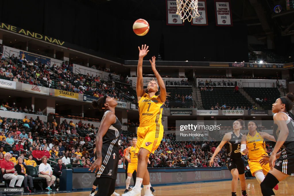 Jennie Simms #7 of the Indiana Fever shoots the ball against the San Antonio Stars on September 2, 2017 at Bankers Life Fieldhouse in Indianapolis, Indiana.