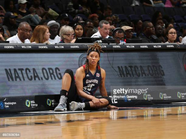 Jennie Simms of the Washington Mystics gets ready to go into the game against the Atlanta Dream on June 4 2017 at Verizon Center in Washington DC...