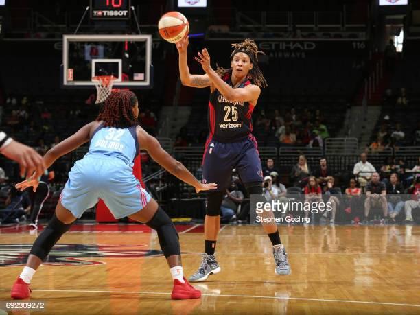 Jennie Simms of the Washington Mystics passes the ball against the Atlanta Dream on June 4 2017 at Verizon Center in Washington DC NOTE TO USER User...