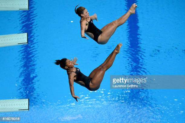 Jennifer Abel and Melissa Citrini Beaulieu of Canada compete during the Women's Diving 3M Synchro Springboard final Championships on July 17 2017 in...